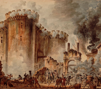 painting of the storming the bastille during French revolution