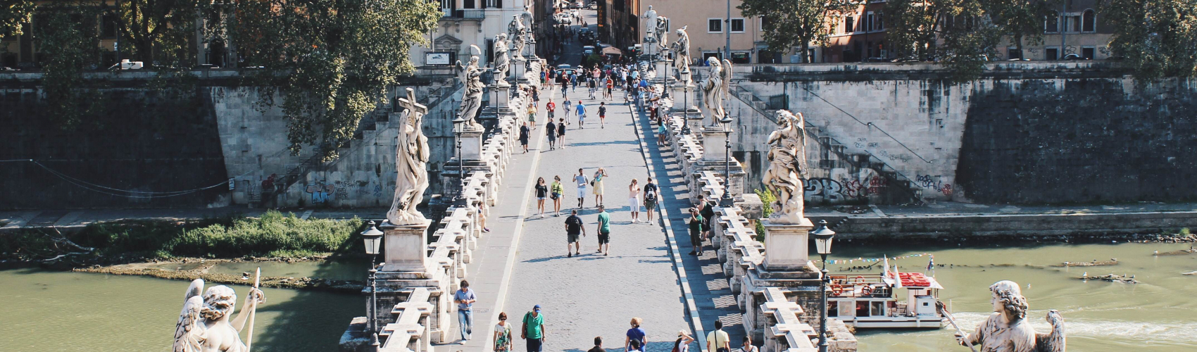 Bridge with statues at Castel Sant'Angelo, Rome, Italy