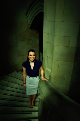 Natalie Downs pictured on staircase in UW's Suzzallo Library