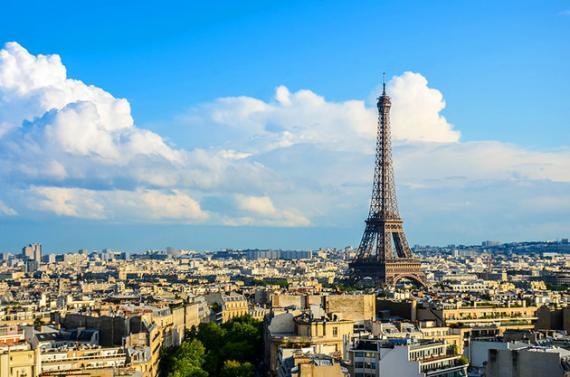 View of Eiffel Tower and surrounding neighborhood