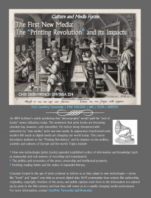 "Culture and Media Forms: The First New Media: The ""Printing Revolution"" and its Impacts"