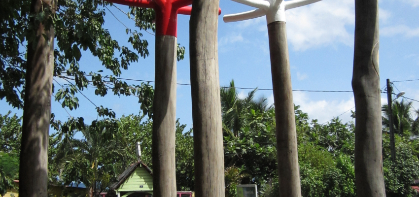 Tree-sized swizzle sticks, an art installation in Martinique