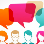 Colorful illustration of people with speech bubbles