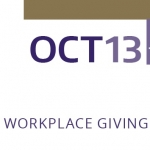 "Partial UWCFD purple and gold banner reads, ""October 13 through December 2. Our workplace giving campaign."""