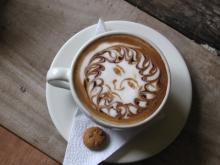 Latte art of a man's face