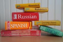 stack of language books