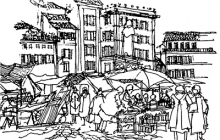 Sketchbook drawing of Campo dei Fiori by Thomas J. Allsopp