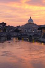 Sunset along the Roman waterfront.