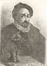 Etching of philosopher and cat