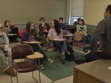 Students in UW's French 203 class discuss recent attacks in Paris