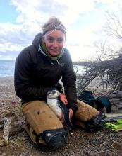 UW student Anna Sulc with penguin