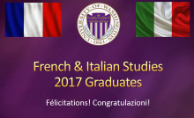 Purple slide entited French & italian studies graduates