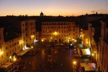 nighttime view of Campo de' Fiori