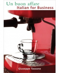 "Book cover for ""Italian for Business"": a close up of an espresso shot being pulled into a clear glass espresso cup and saucer."