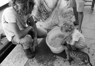 Squatting low infront of hanging fishing nets, a long-haired man watches a little girl and a kitten peer into his bucket of swimming fingerling fish.