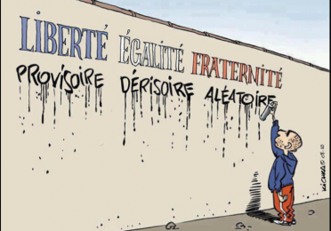 French cartoon of child spray painting