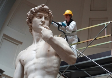 Work being done on the David Statue