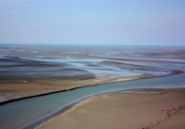 Looking down on the tidal flats from Mon St. Michel