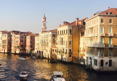The Grand Canal from the Rialto Bridge in Venice, Italy