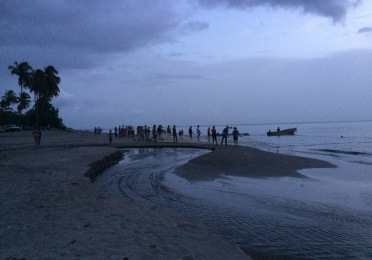 Community fishing on the shores of St. Pierre, Martinique