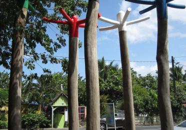 Tree-sized swizzle sticks, an art installation in Martinique
