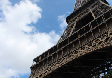 View of Eiffel Tower from the base of one of the four legs