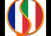 French and Italian flags combined in a speech bubble