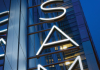 Angle view of the SAM logo
