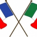 French and italian flags crossed over